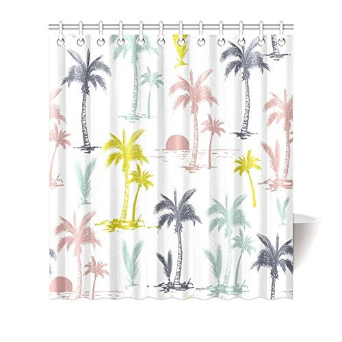 mypop palm tree shower curtain decor tropical island scenery sunrise waves polyester fabric bathroom set with hooks 66x72 inches long grey pink