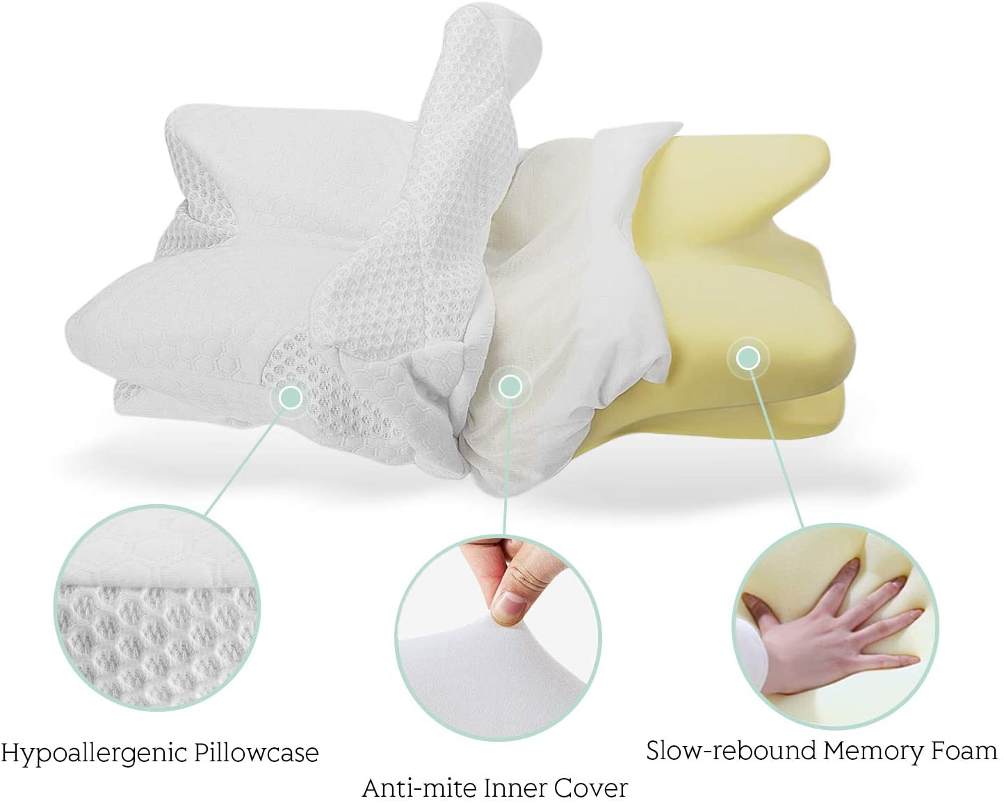 coisum back sleeper cervical pillow memory foam pillow for neck and shoulder pain relief orthopedic contour ergonomic pillow for neck support with