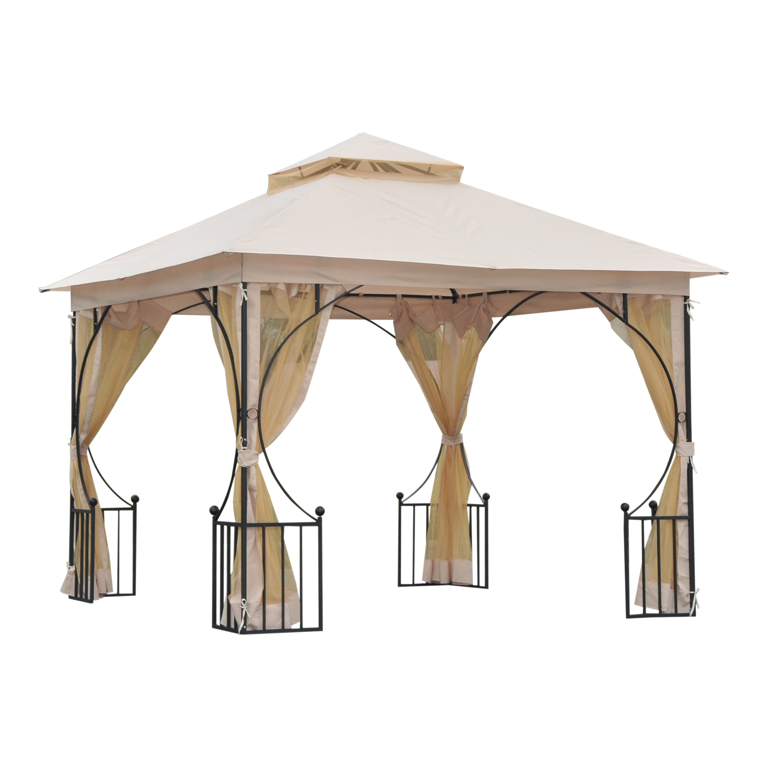 outsunny 10 x 10 steel outdoor garden patio gazebo canopy with mosquito netting walls