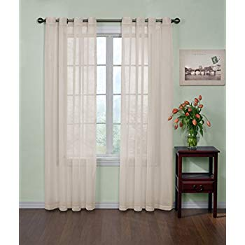 CURTAIN FRESH Sheer Curtains for Bedroom - Arm and Hammer 59' x 84' Light Filtering Single Panel Grommet Top Window Treatment for Living Room, Ivory