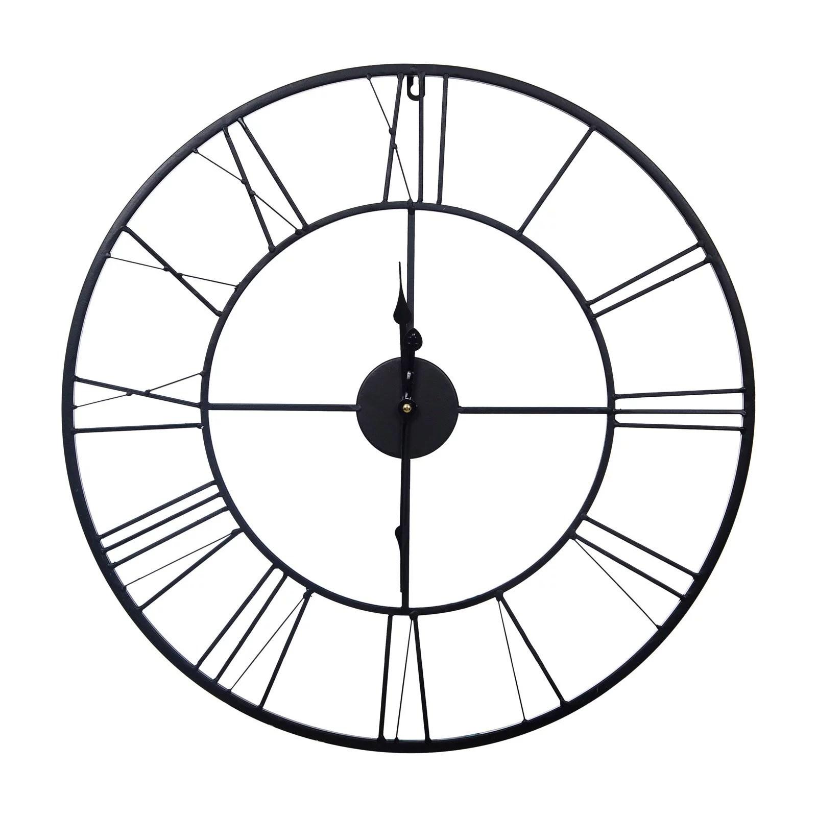 24 Metal Cutout Roman Numeral Wall Clock