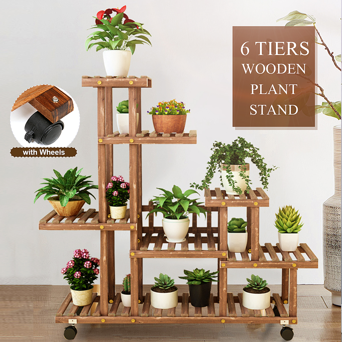 6 tier with wheels pot flower wooden plant stand movable shelf wood planters shelving rack raised garden beds for indoors outdoor patio yard home