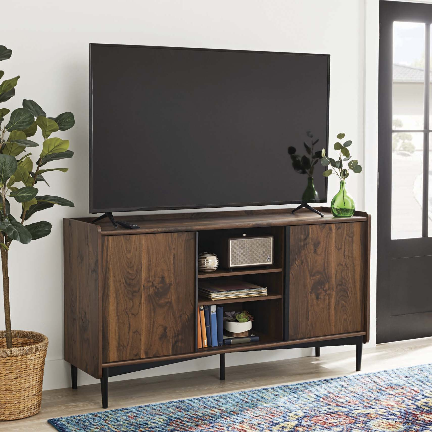 Better Homes Gardens Montclair Tv Stand Storage Console For Tvs Up To 65 Vintage Walnut Finish Walmart Com Walmart Com