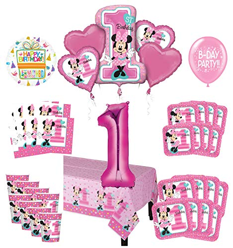 Mayflower Products Minnie Mouse 1st Birthday Party Supplies 8 Guest Decoration Kit And Balloon Bouquet Walmart Com Walmart Com