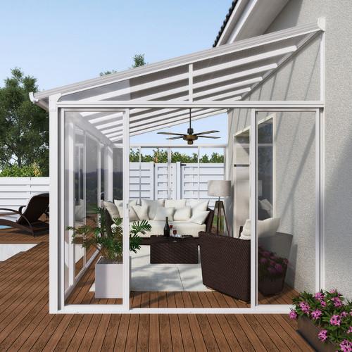 palram san remo patio 14 ft w x 10 ft d aluminum wall mounted patio gazebo