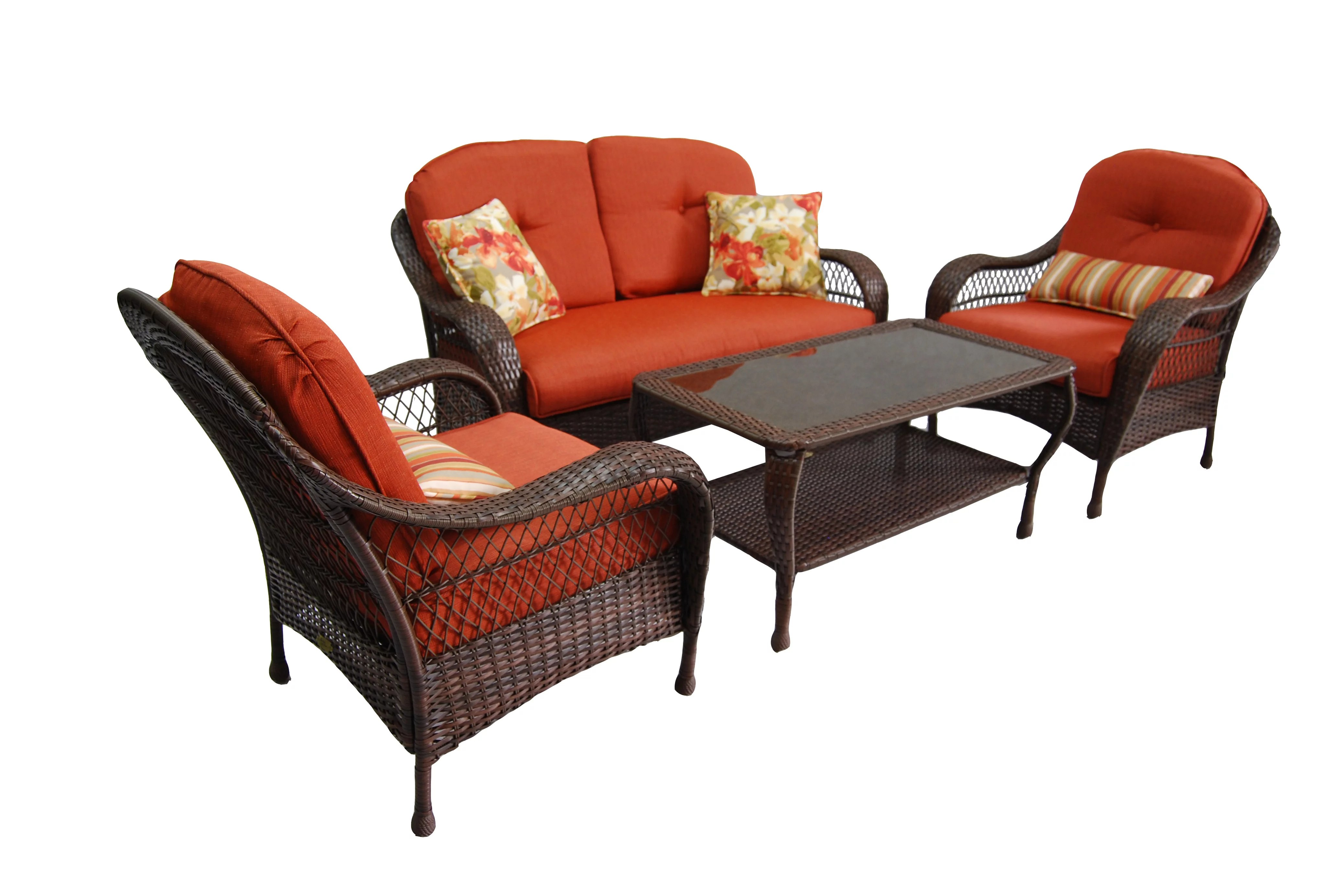 better homes gardens azalea ridge outdoor conversation set with orange cushions walmart com