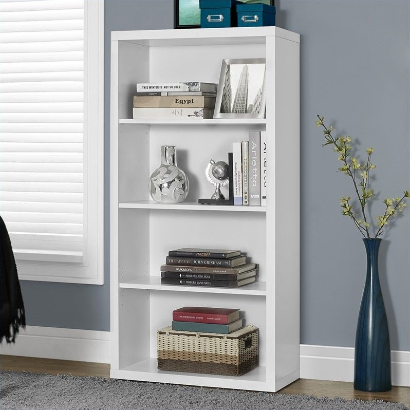 monarch bookcase 48 h white with adjustable shelves