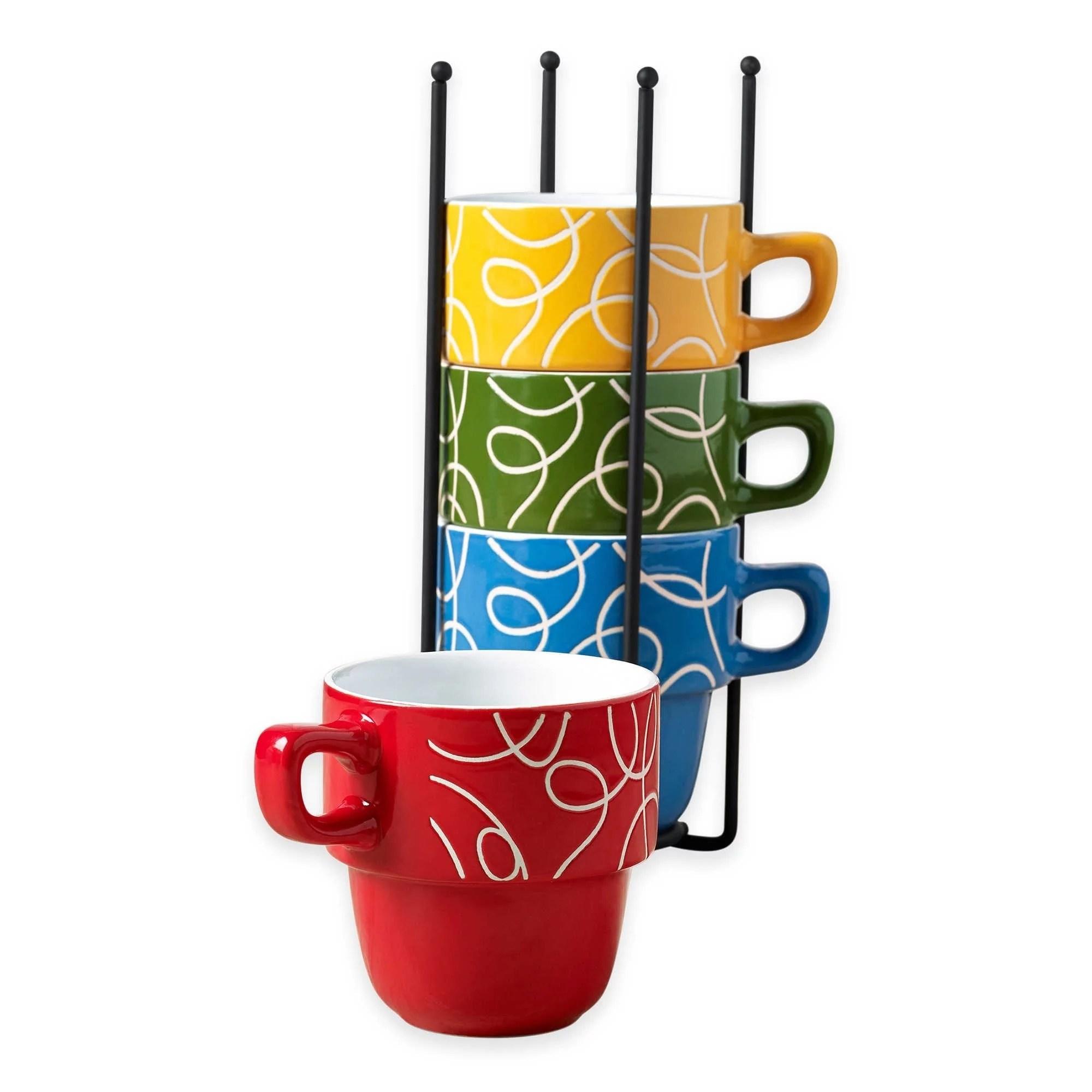 ceramic 5 pcs stacking coffee mug set with rack mugs with stand esto