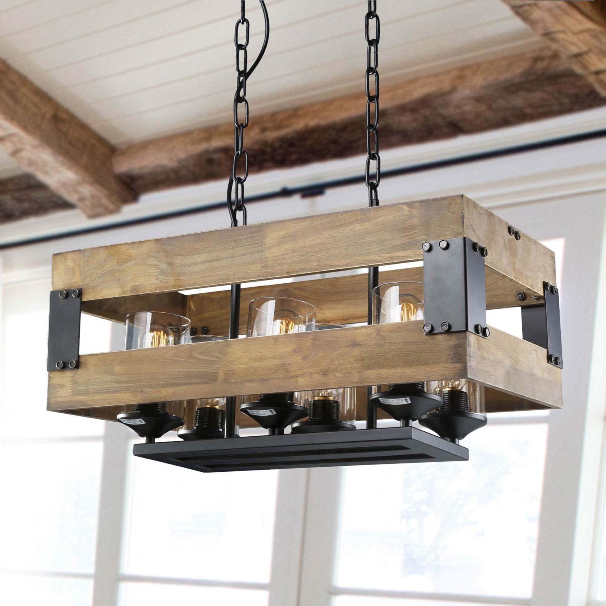 lnc farmhouse 6 light wood chandeliers rustic kitchen island lighting