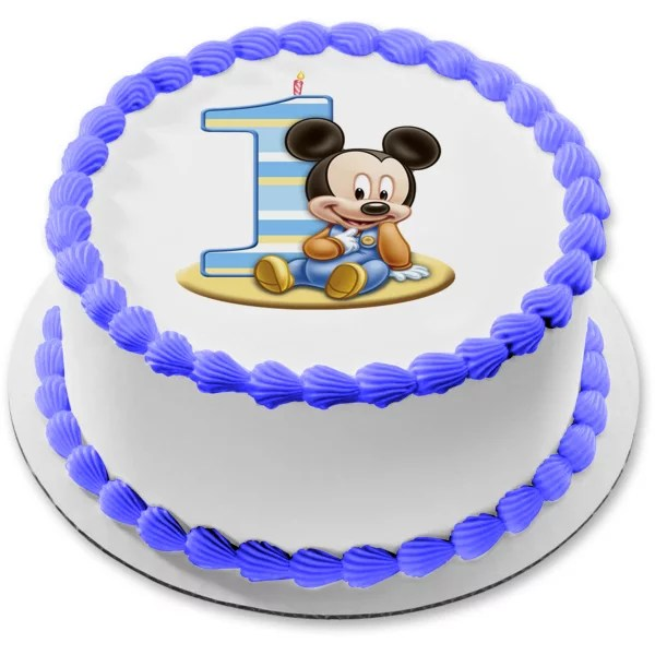 Mickey Mouse Round 1st Birthday Edible Frosting Image Cake Topper 8 Round Abpid51271 Walmart Com Walmart Com
