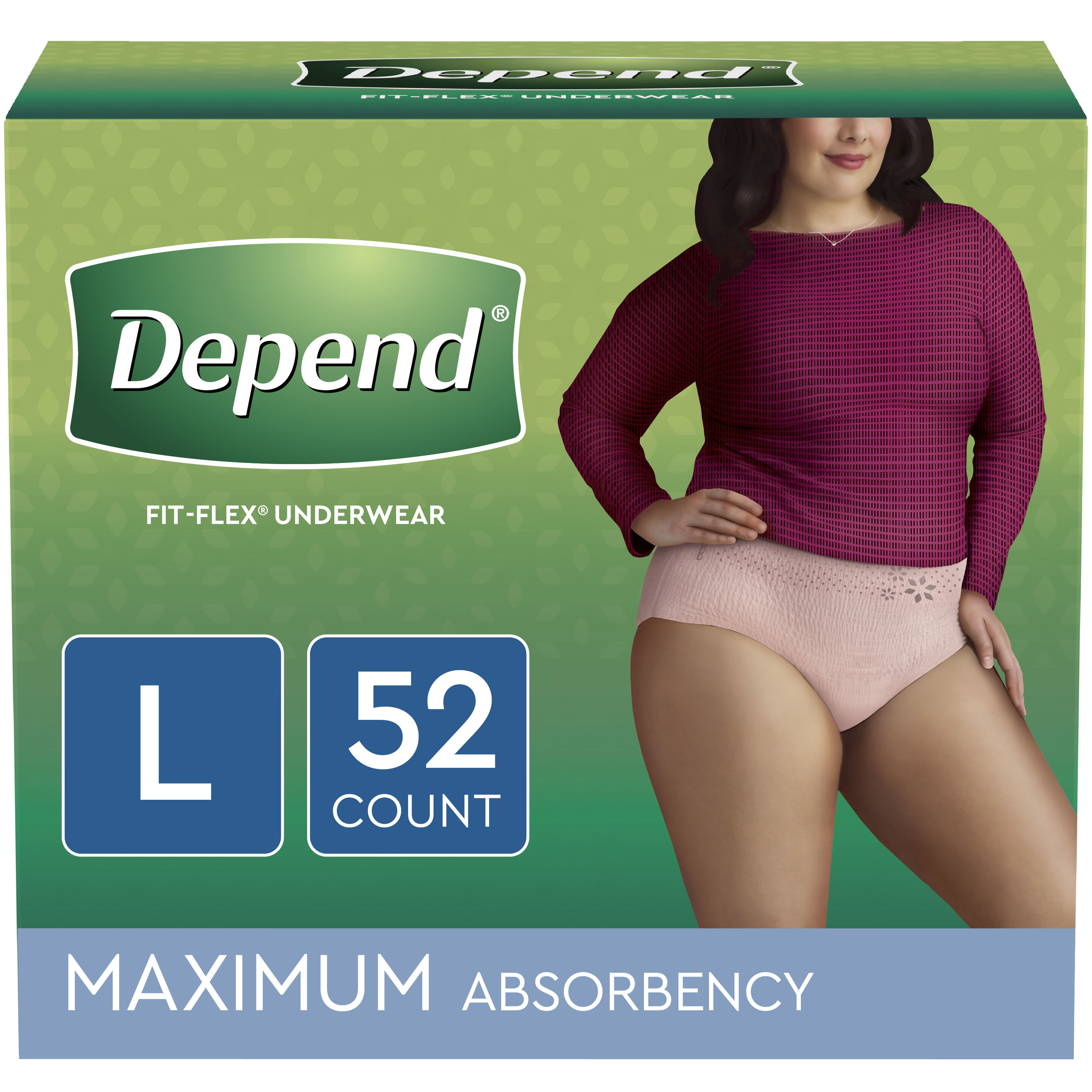 Depend FIT-FLEX Incontinence Underwear for Women, Maximum Absorbency, L, Blush, 52 Count