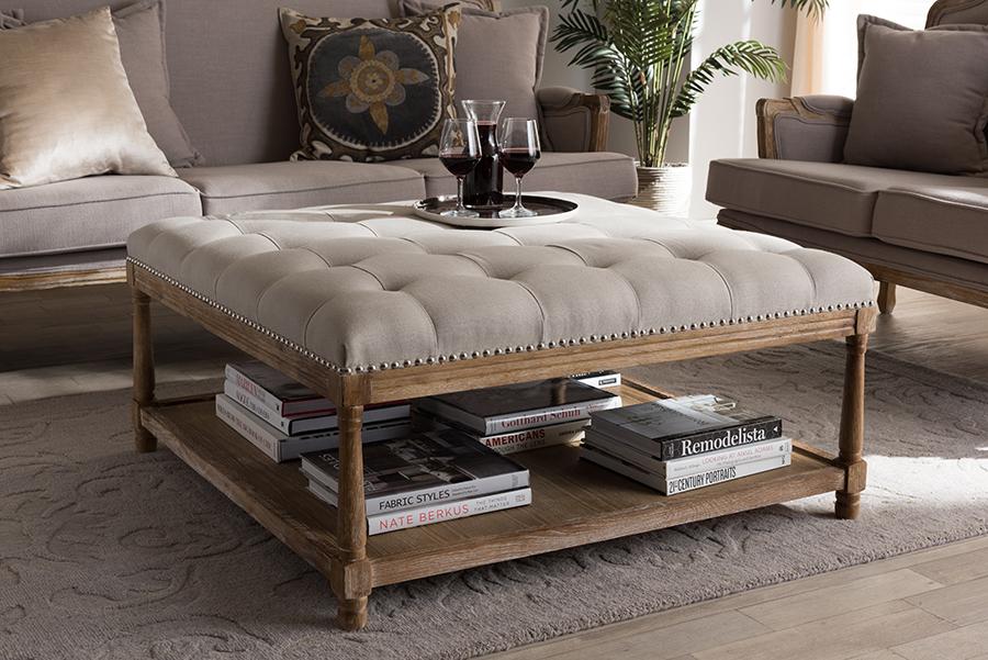 baxton studio carlotta oak beige linen square coffee table ottoman walmart com