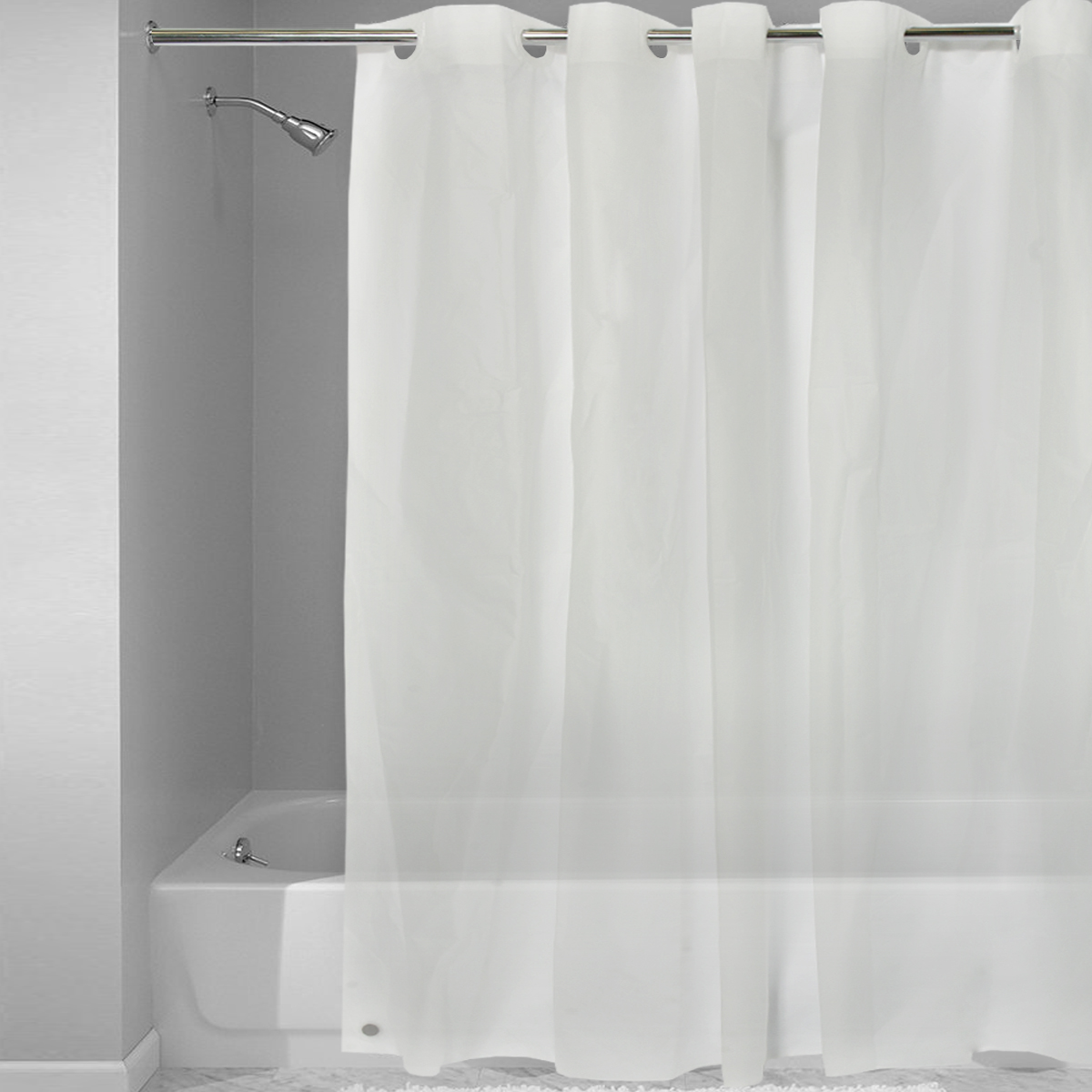 ez on frosted clear eva plastic 72 x 72 hookless shower curtain liner