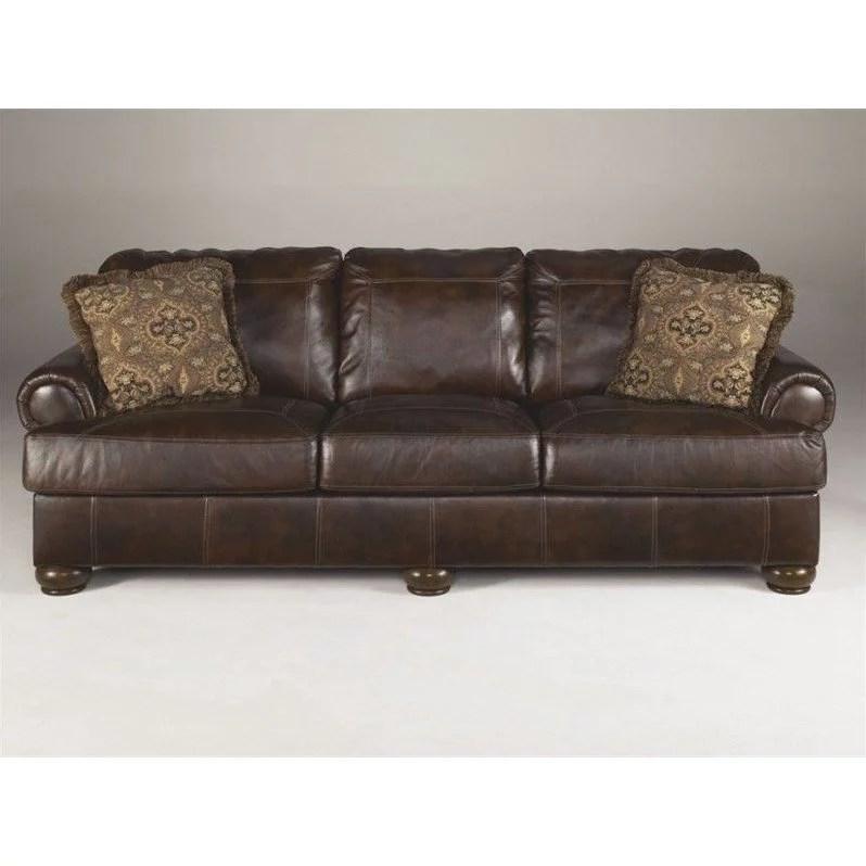 ashley furniture axiom leather sofa in walnut walmart com