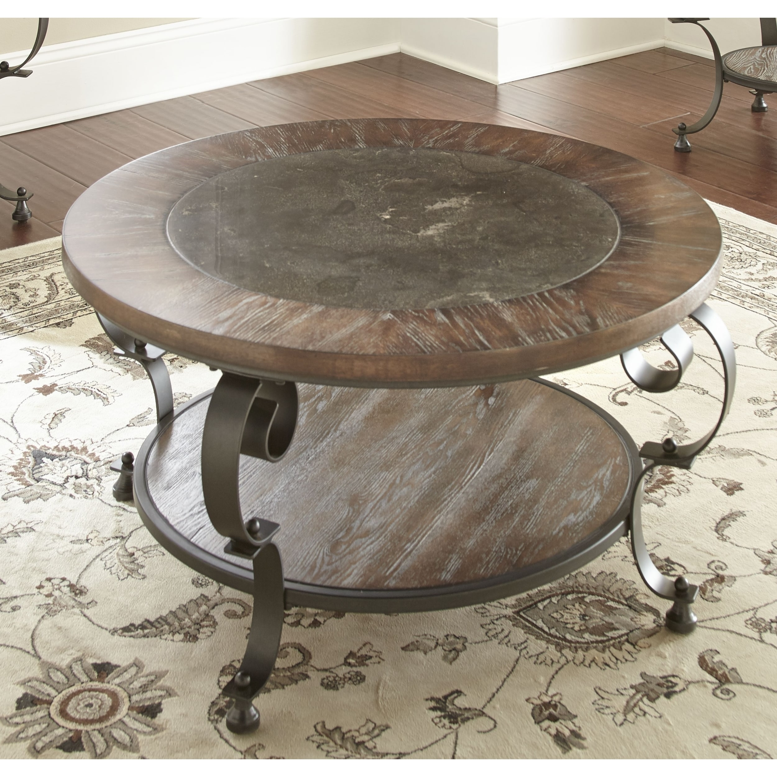 greyson living mayview 36 inch round coffee table with bluestone insert by