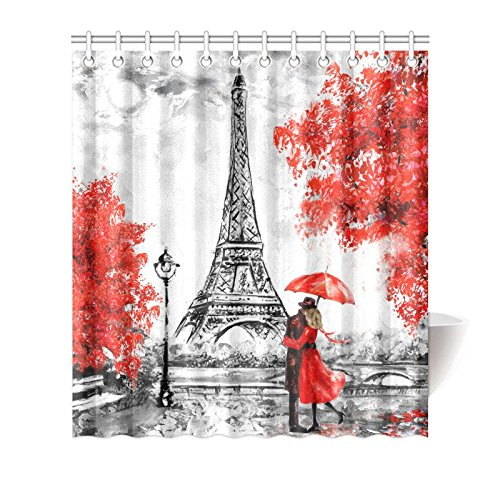 mkhert elegant paris eiffel tower couple red umbrella trees house decor shower curtain for bathroom decorative bathroom shower curtain set 66x72