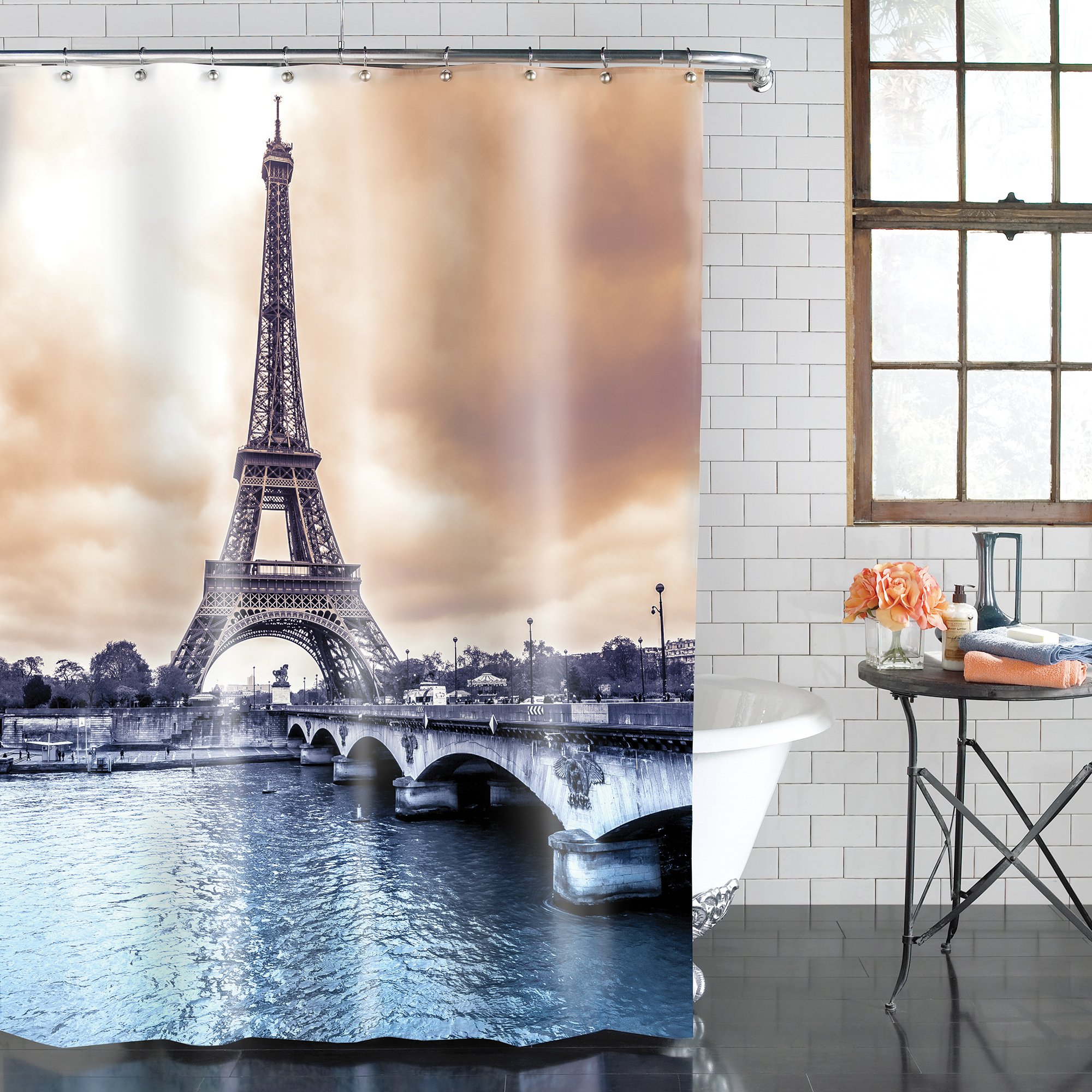 mainstays paris peva shower curtain 1 each walmart com