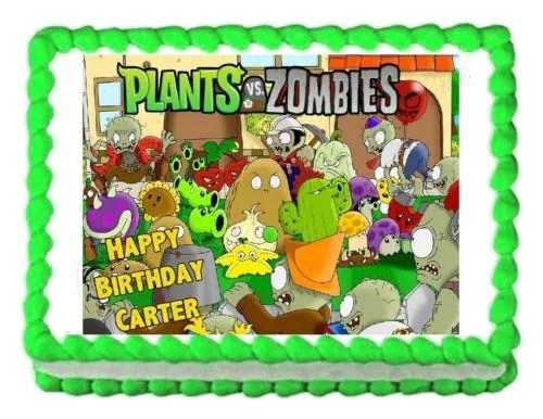 Plants Vs Zombies Popcap Sunflower Wall Nut Zombies Edible Cake Topper Image Walmart Com Walmart Com