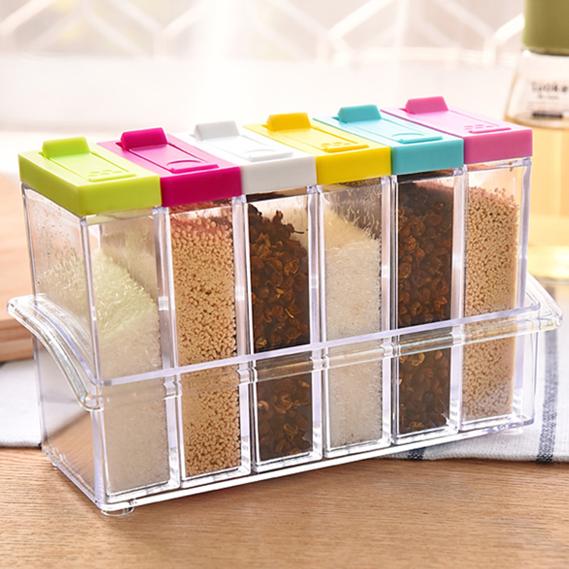 jeobest spice storage container spice jars 6pcs spice shaker seasoning box jar plastic condiment transparent storage container with tray sent