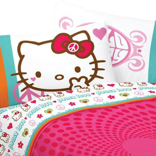 Hello Kitty Bed Sheet Set Sanrio Peace And Love Bedding