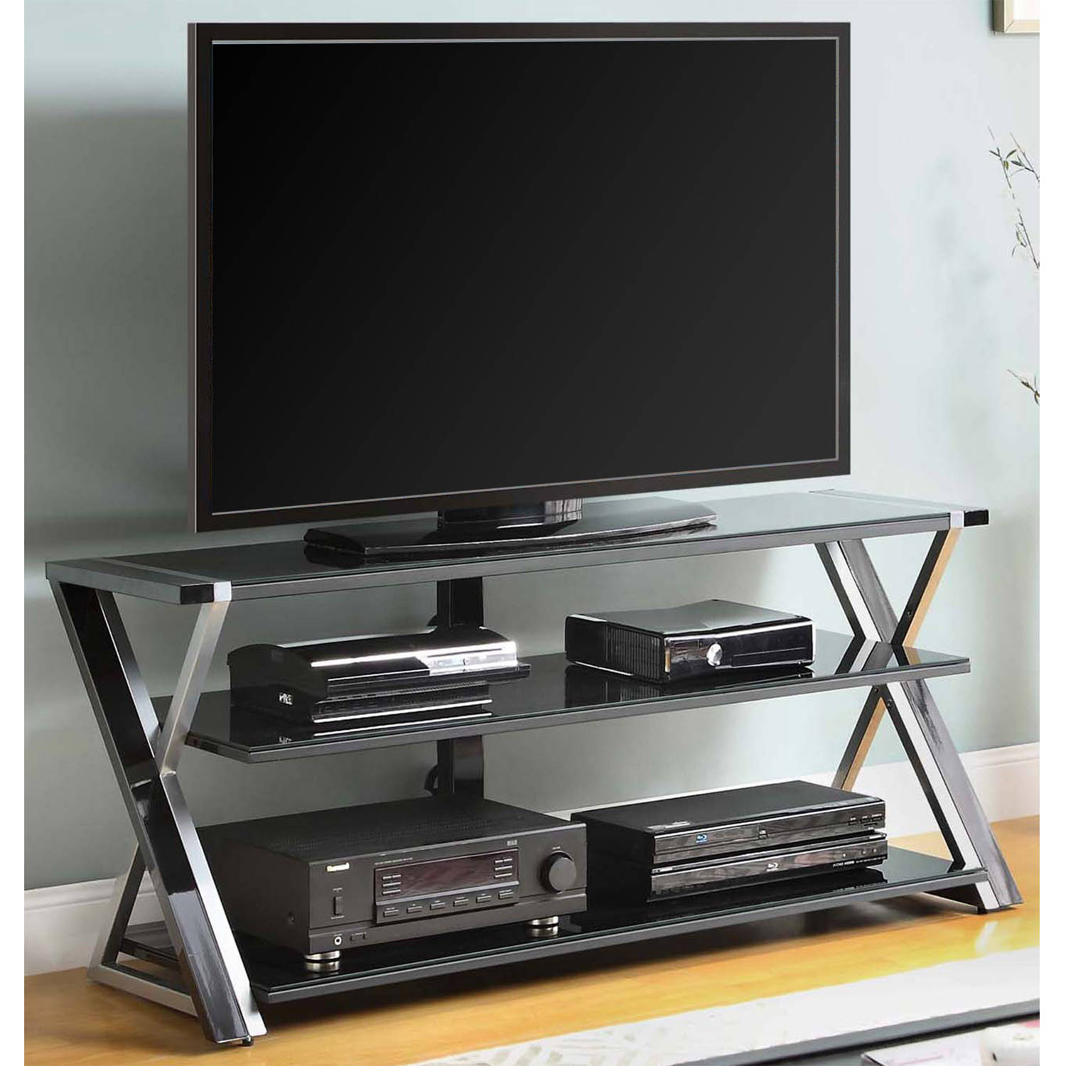 whalen black tv stand for 65 flat panel tvs with tempered glass shelves walmart com