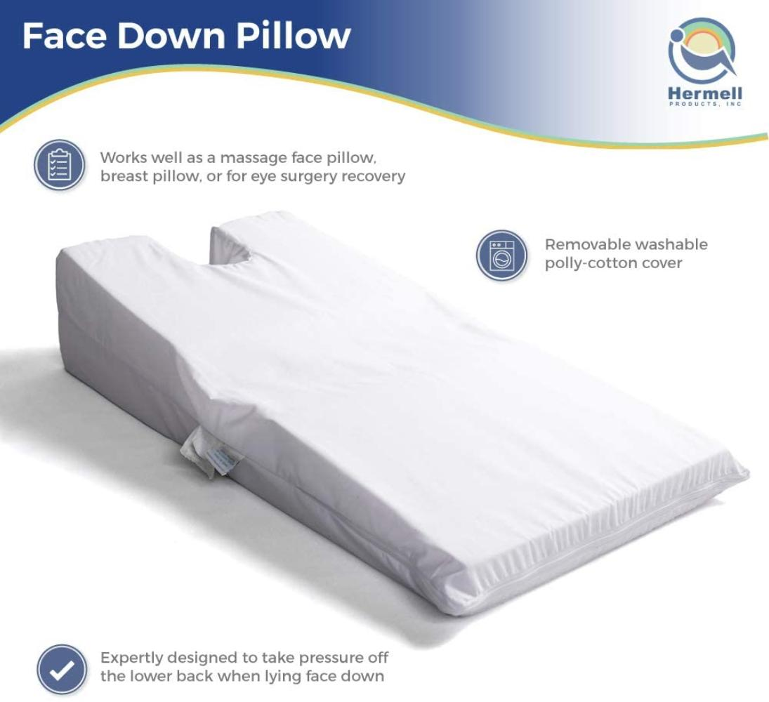 hermell products inc hermell face down pillow large pack of 1 white pain relieving alignment expertly designed prone pillow to keep your
