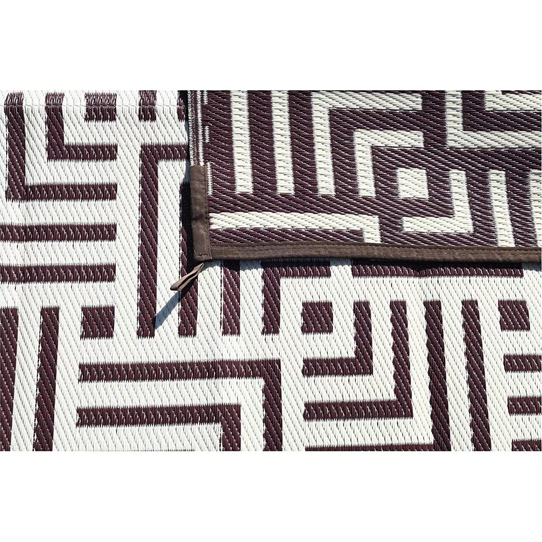 reversible mats 8 x 5 foot outdoor polypropylene pattern patio rug brown beige