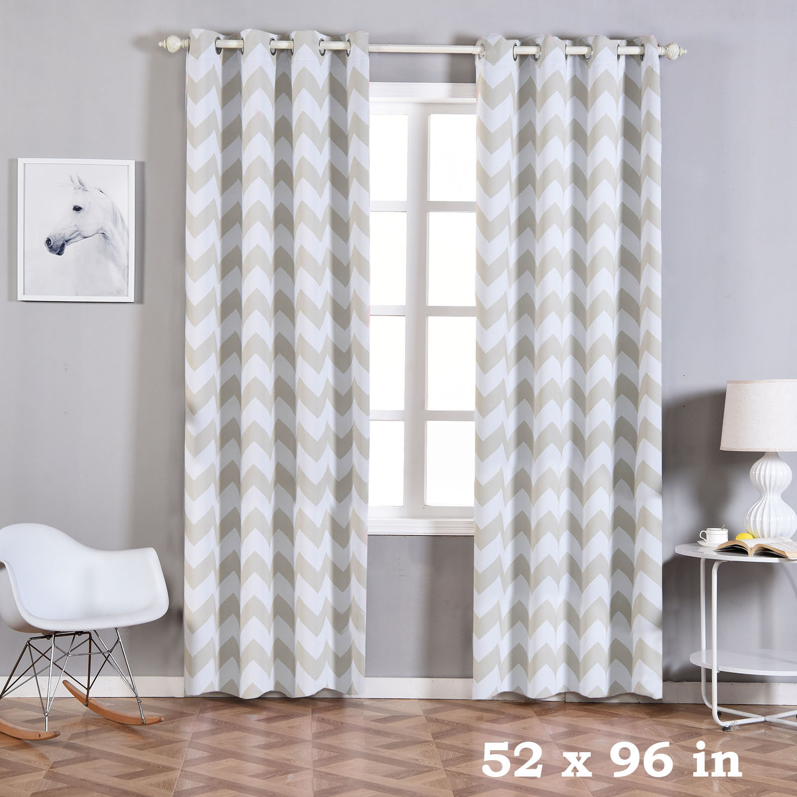 balsacircle 52 x 96 inch chevron curtains drapes panels with grommet window treatments home decorations