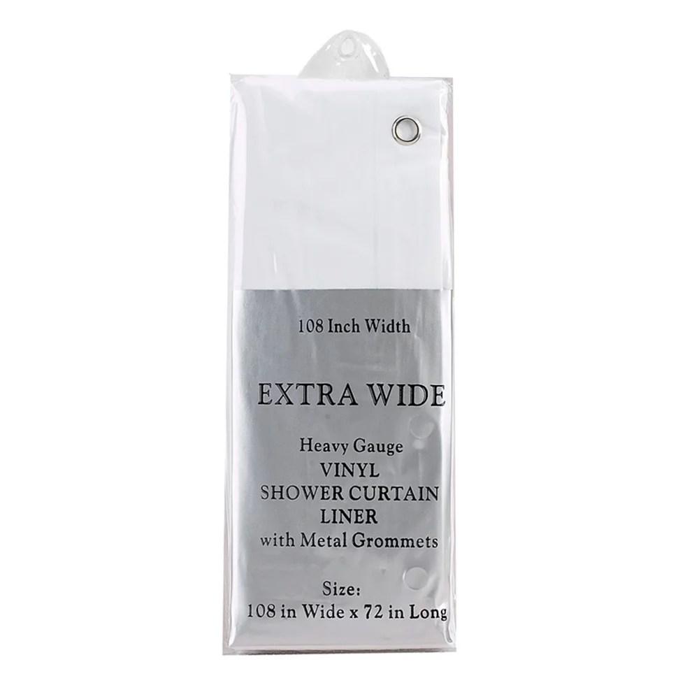 white extra wide 5 gauge vinyl shower curtain liner 108 wide x 72 long walmart com