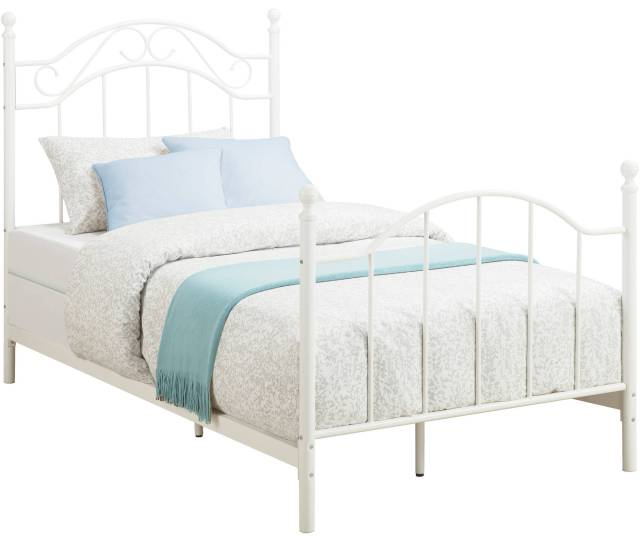 Mainstays Traditional Metal Bed Twin White With Headboard Walmart Com