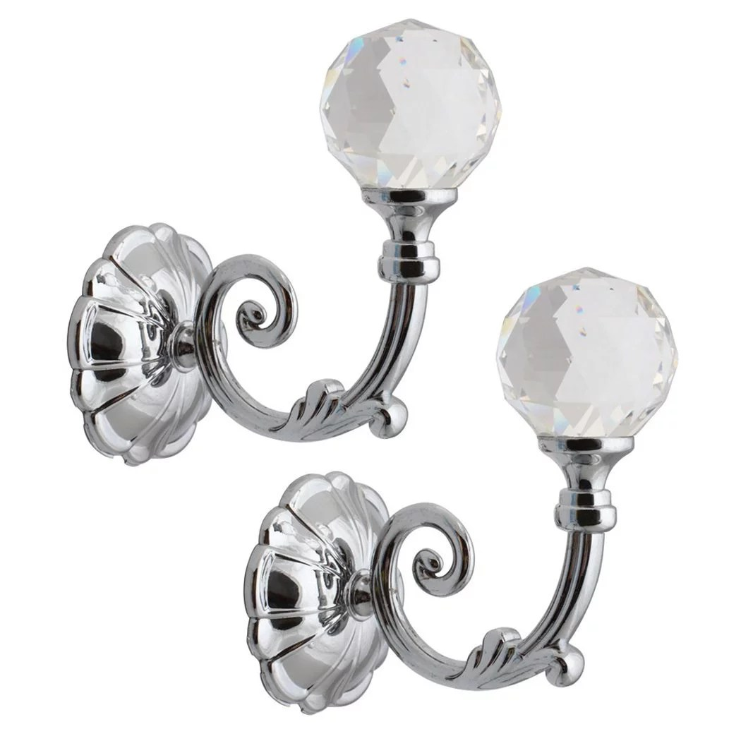 dilwe 2 pcs phoenix glass crystal curtain holdback hooks wall window drapery tie back hooks metal hanger holder
