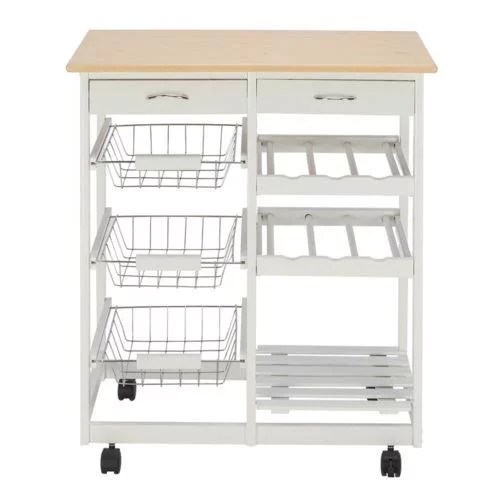 ktaxon rolling kitchen trolley cart island shelf w storage drawers baskets wood kitchen cart