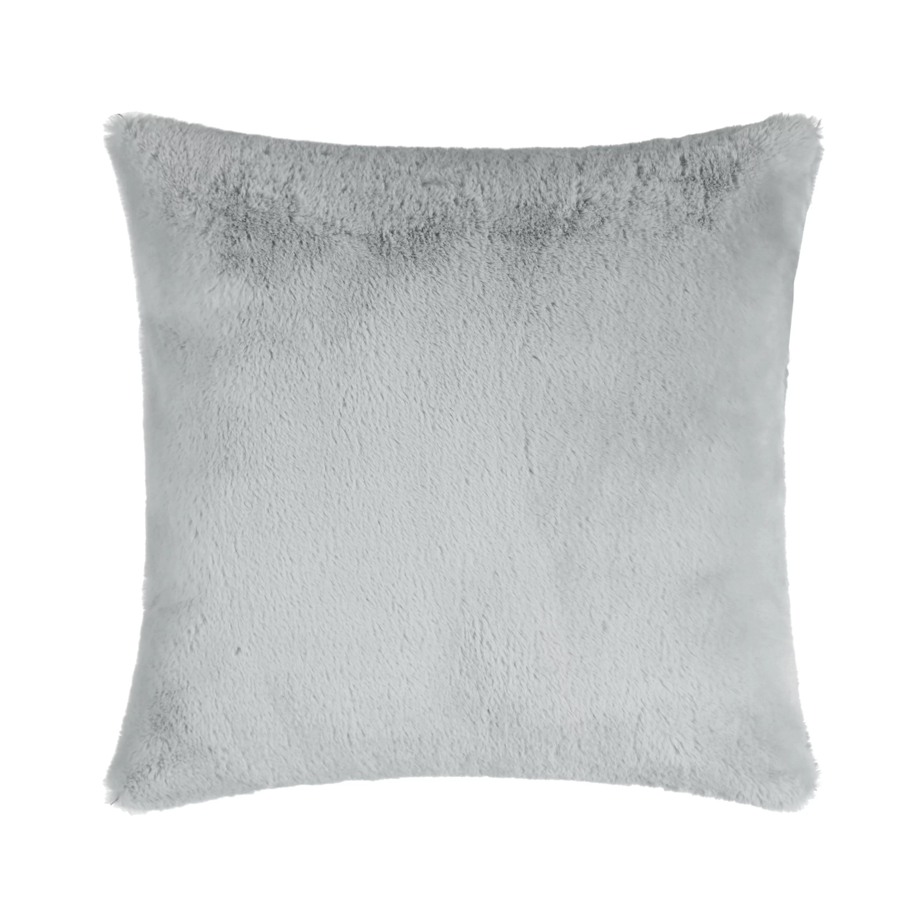mainstays faux fur pillow 18 x 18 grey square 1 piece