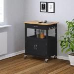 Ehemco Kitchen Island Cart Natural Butcher Block Bamboo Top With Black Base Walmart Com Walmart Com