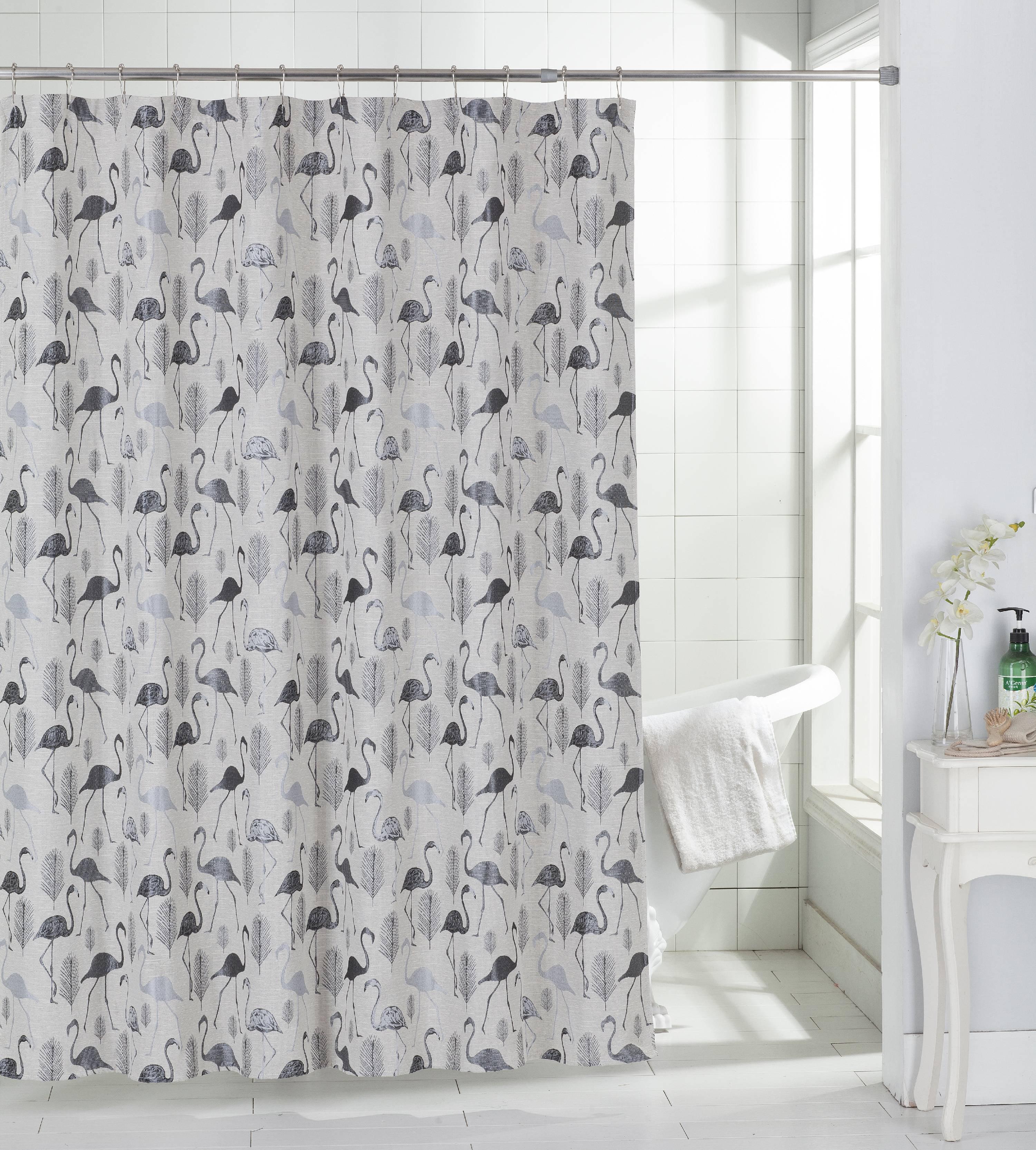 flamingo shower curtain in aqua