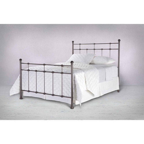 dexter metal headboard and footboard bed panels with decorative castings and finial posts hammered brown finish queen
