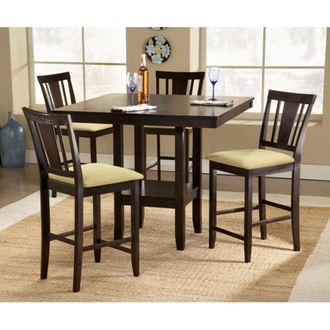 Hillsdale Furniture Arcadia 5-Piece Counter Height Dining Set with Slat Back Stools