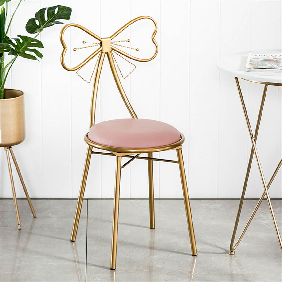 pair makeup vanity chairs for girls cute butterfly dressing stool chair for bedroom living room metal bench legs gold chair with fluffy velvet