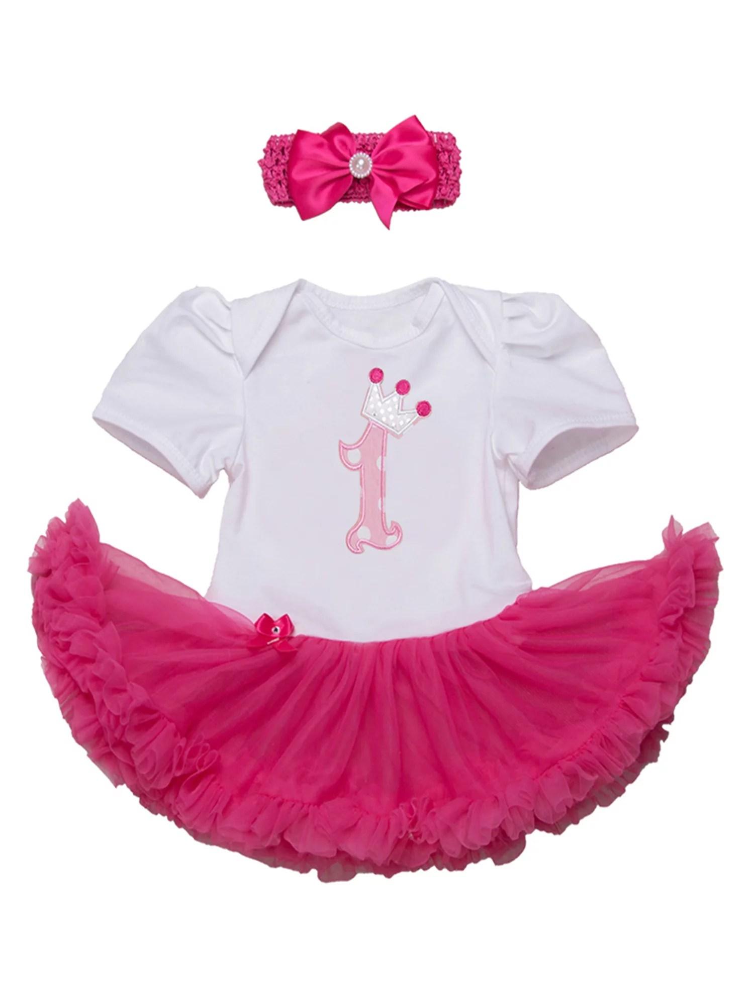 Stylesilove Stylesilove Cute Character Baby Girl Holiday Birthday Party Tutu Dress Romper With Headband 2 Pcs Outfit Set 80 6 12 Months Fuchsia 1st Birthday Walmart Com Walmart Com