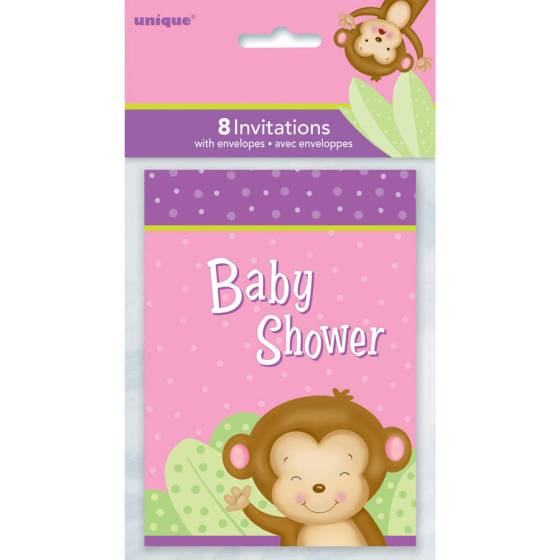 Pink Monkey Baby Shower Invitations 8 Count
