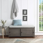 Shoe Storage Bench Entryway Storage Bench With Drawers Wooden Entryway Foyer Bedroom End Of Bed Bench W Seating Cushions Hallway Shoe Footstool Ottoman 20 2 X44 X13 7 Gray A1309 Walmart Com Walmart Com