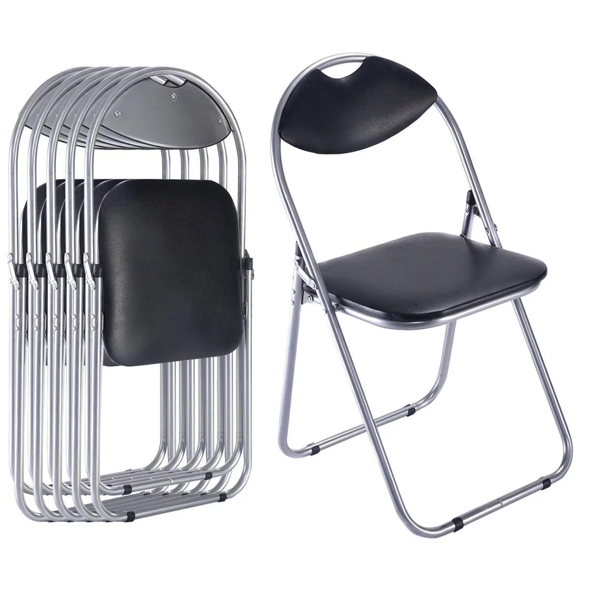 Costway 6 PCS U Shape Folding Chairs Furniture Home Outdoor Picnic Portable Black