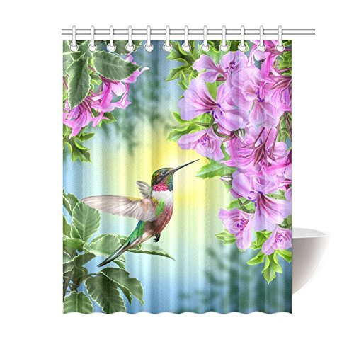 mypop hummingbirds shower curtain art with colibri bird and tree branch fuchsia flower romantic springtime tropics nature bathroom set 60 x 72