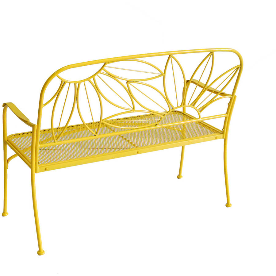 mainstays hello sunny outdoor patio bench yellow
