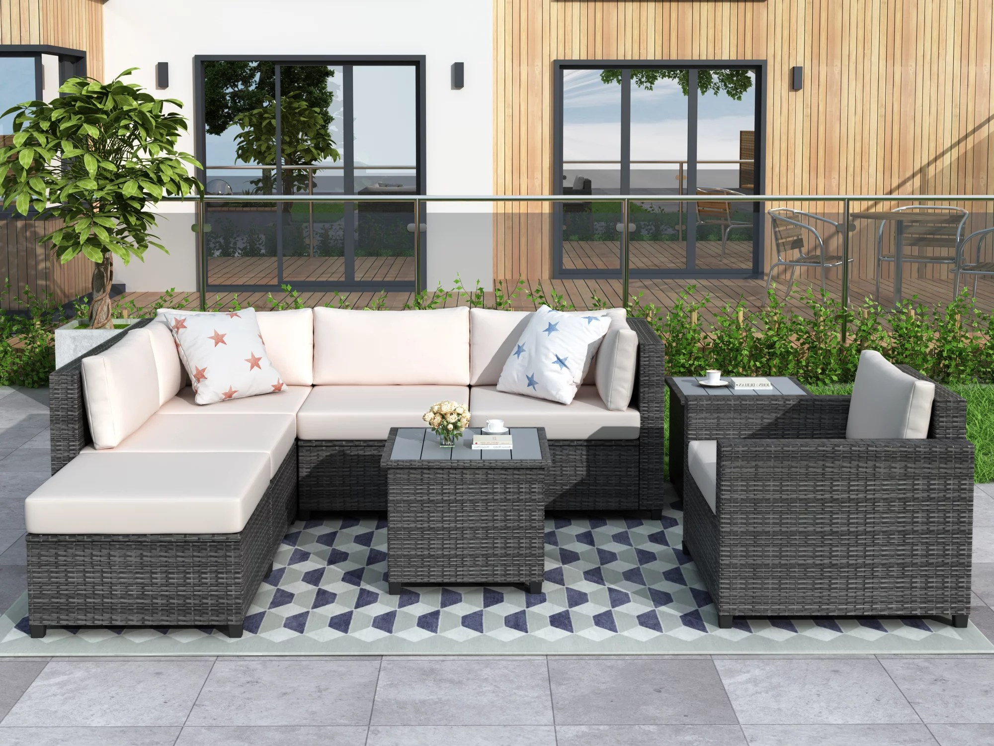 outdoor patio sectional sofa set 8 piece patio furniture set with 5 pe wicker sofas ottoman 2 coffee table all weather outdoor conversation set