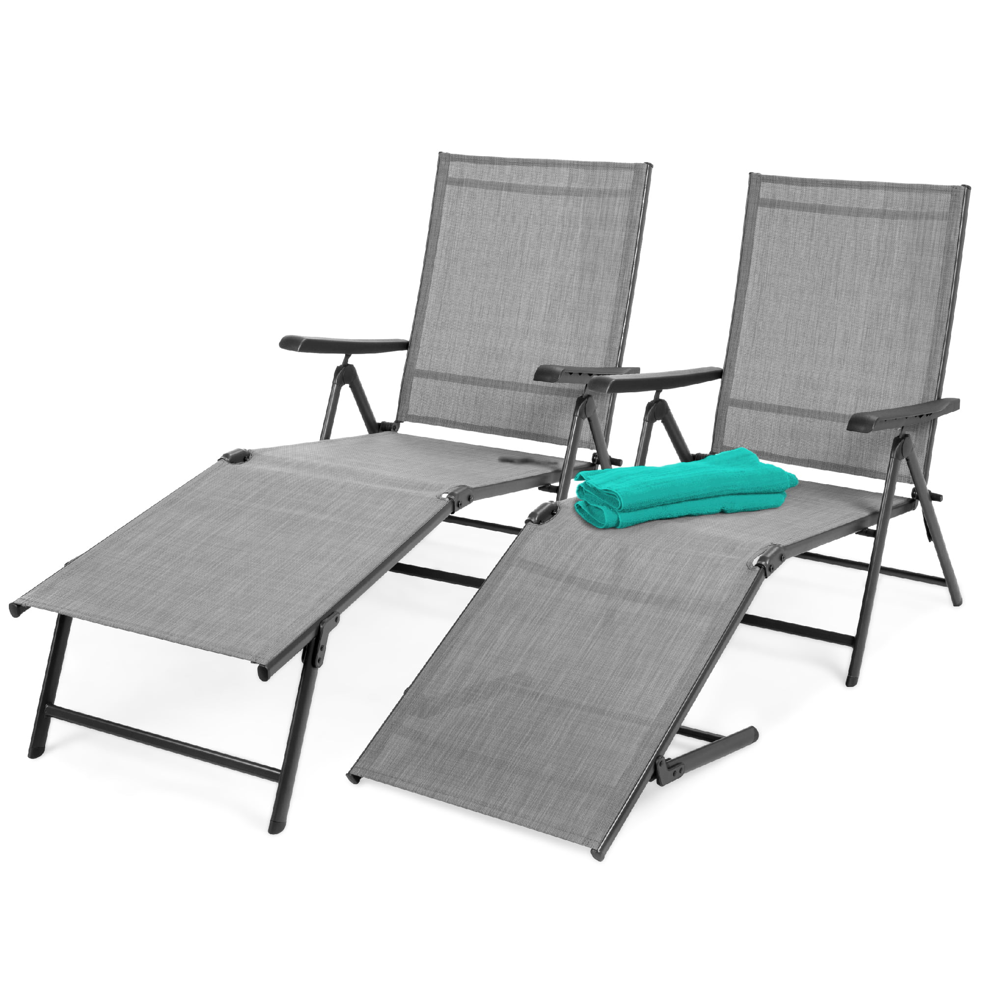 best choice products set of 2 outdoor adjustable folding chaise lounge recliner chairs for patio poolside deck gray
