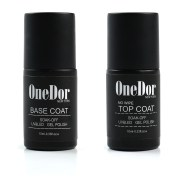 Onedor Gel Polish Uv Led Cured Required Soak Off Nail Top Base Coat Set