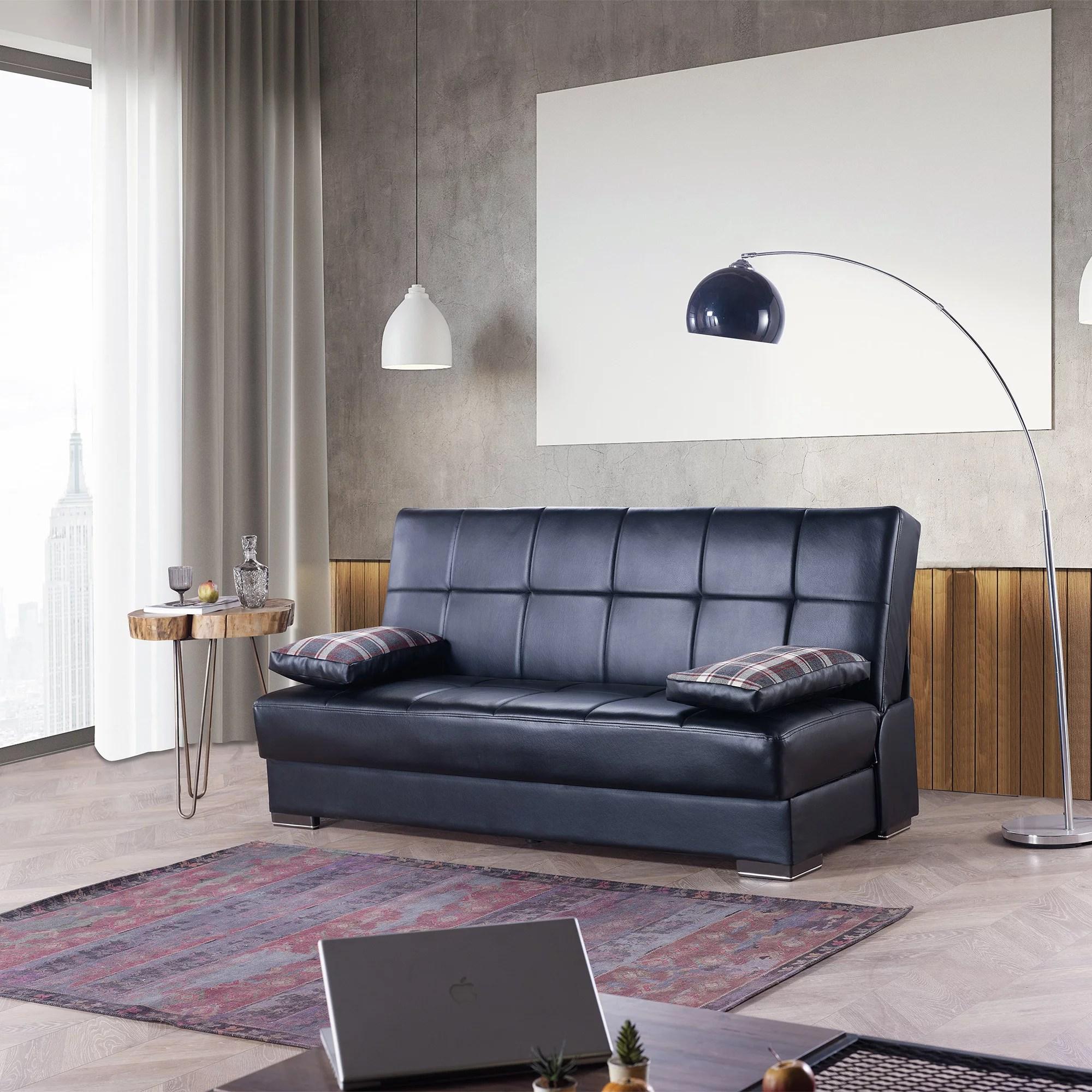 soho armless leather sleeper sofa bed with storage