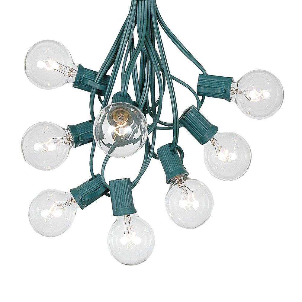 100 foot g40 outdoor globe patio string lights set of 125 g40 clear bulbs