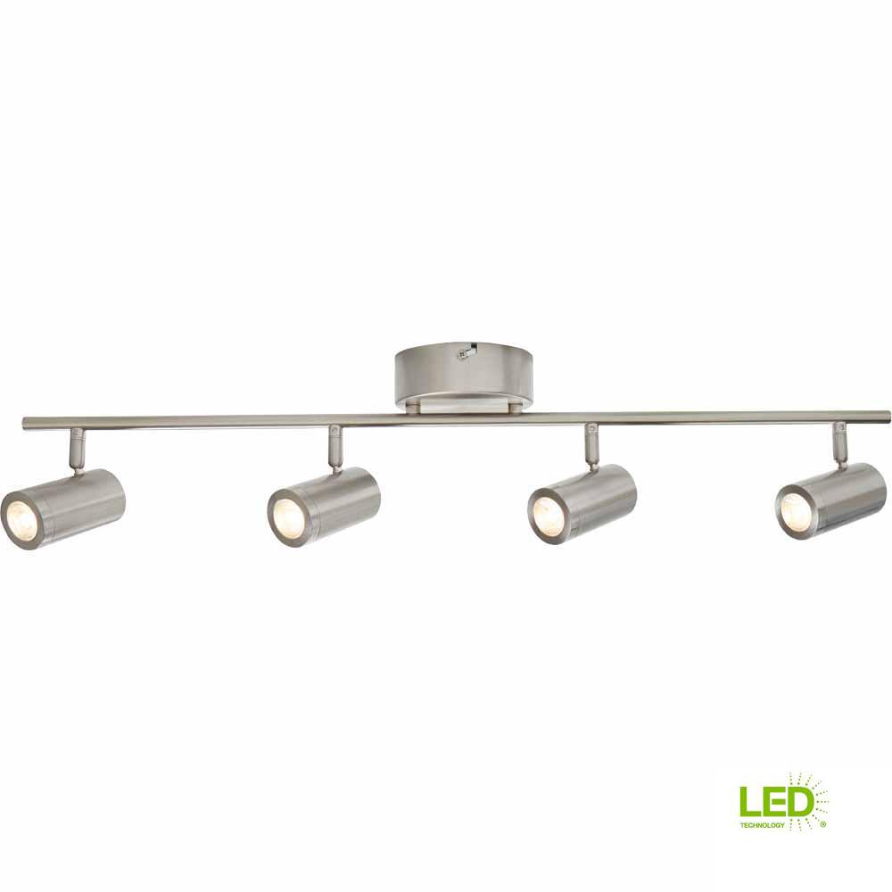 hampton bay 2 47 ft 4 light brushed nickel integrated led track lighting kit walmart com